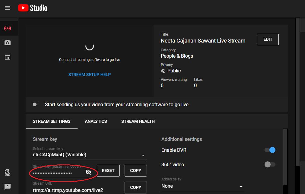 Stream key